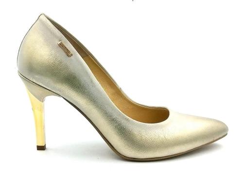 Wszystkie nowe Skórzane szpilki Neścior 092-C złoty przecierany złota szpilka IS97